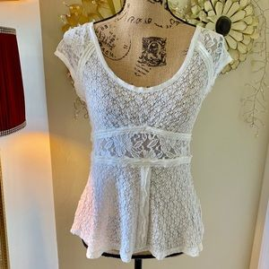 Free people stretch lace peplum top sz S